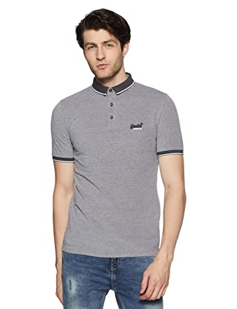 Superdry de los Hombres Polo Oxford City Piqué, Gris: Amazon.es ...