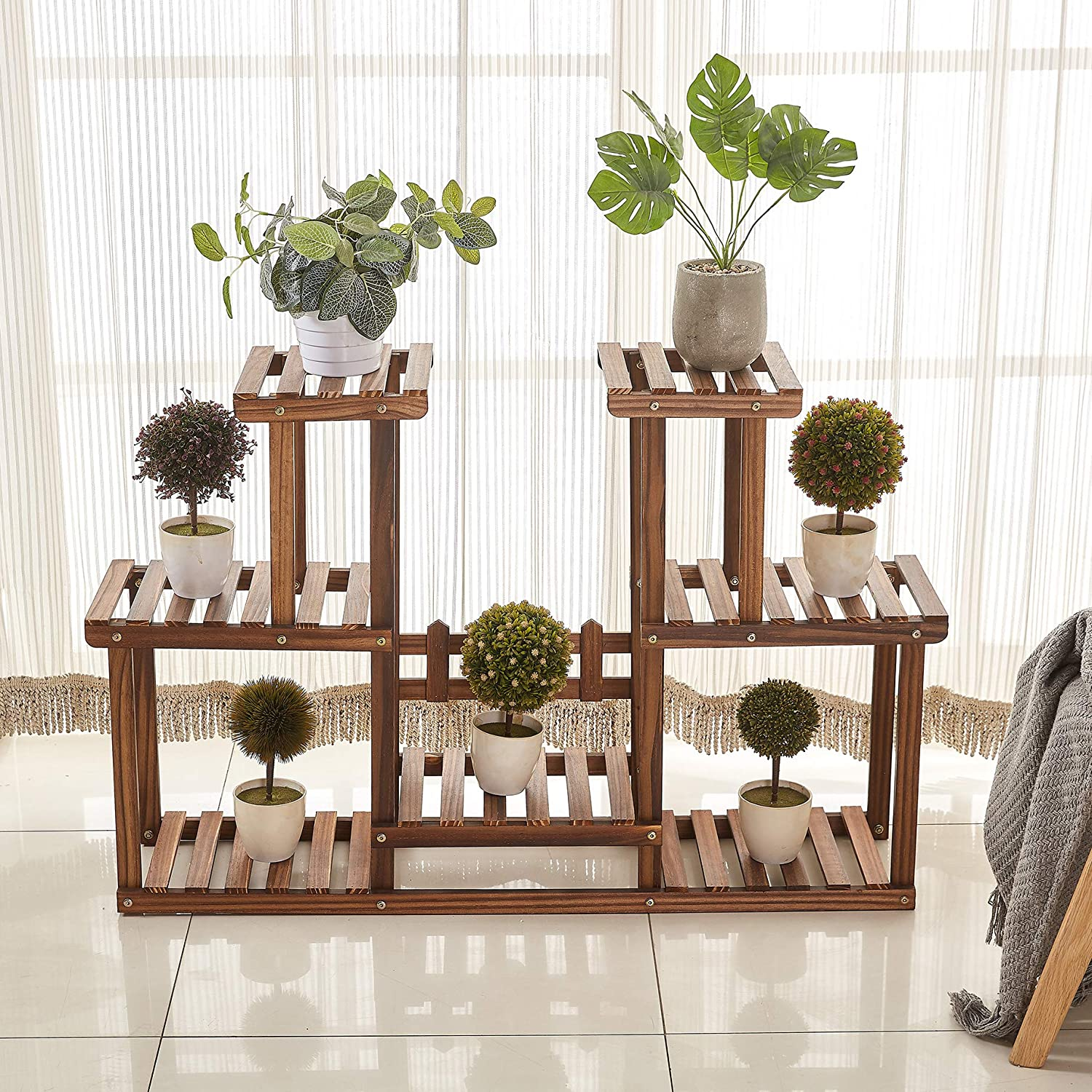 Antirust Screws Plant Stands Plant Shelf Outdoor Plant Stand Overall Size: 43/×24 Inch Rose Home Fashion Solid Pine Wood Plant Stand Plant Stands Indoor