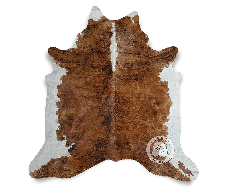 Teppich aus Kuhfell, Farbe  Getigerte Kuh Mittel Dreifarbig , Größe circa 180 x 210 cm, Premium - Qualität von Pieles del Sol aus Spanien