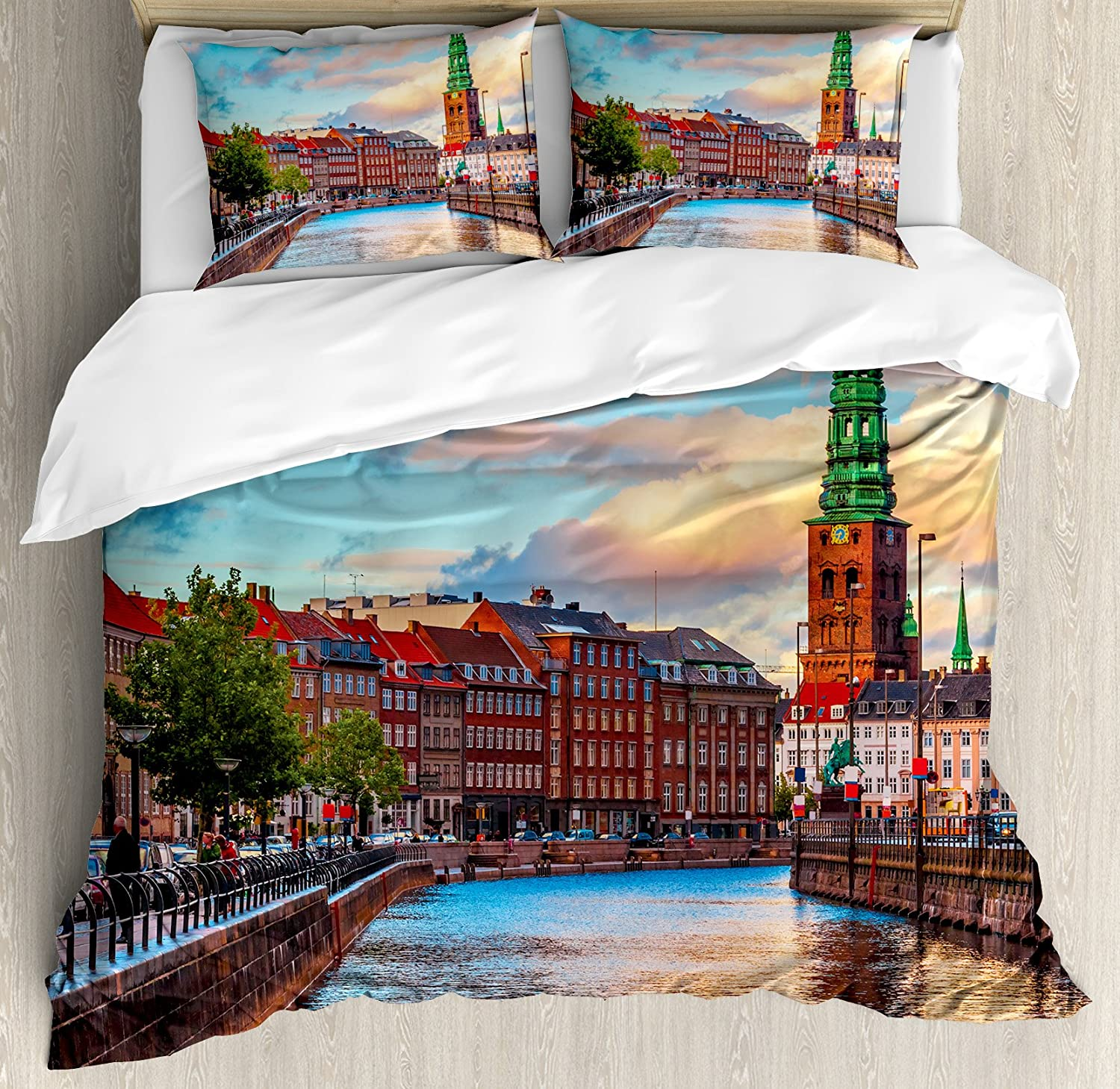 Ambesonne Cityscape Duvet Cover Set King Size, Scenic Summer Sunset of  Copenhagen Denmark Old Scandinavian View City Europe Home, Decorative 3  Piece Bedding ...