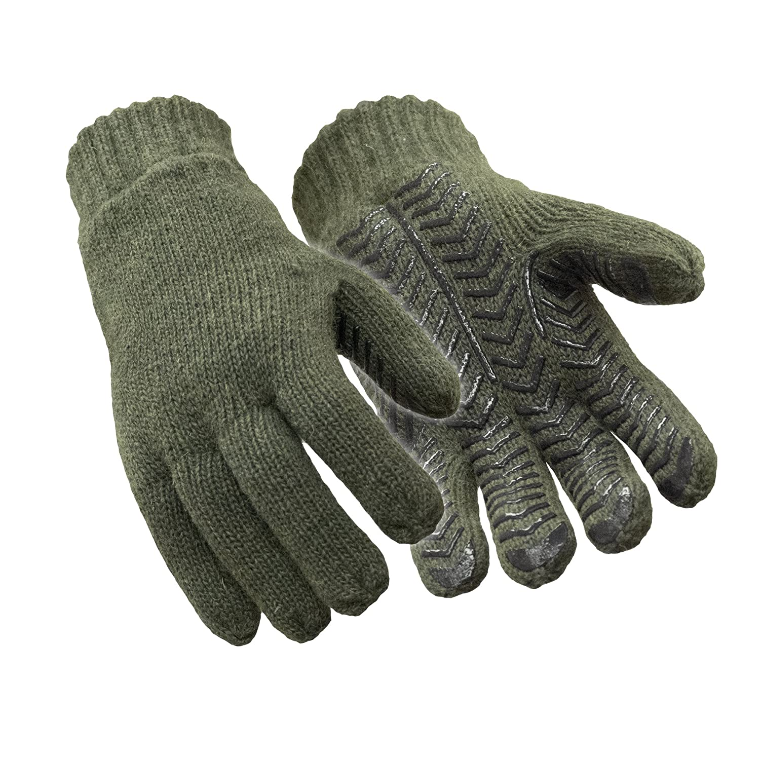 RefrigiWear Thinsulate Insulated Fleece Lined 100% Ragg Wool Grip Gloves, Green