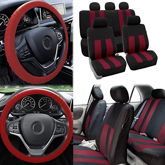 FH Group FB036114 Striking Striped Seat Covers Black Universal Fit for Cars Trucks /& SUVs Full Set