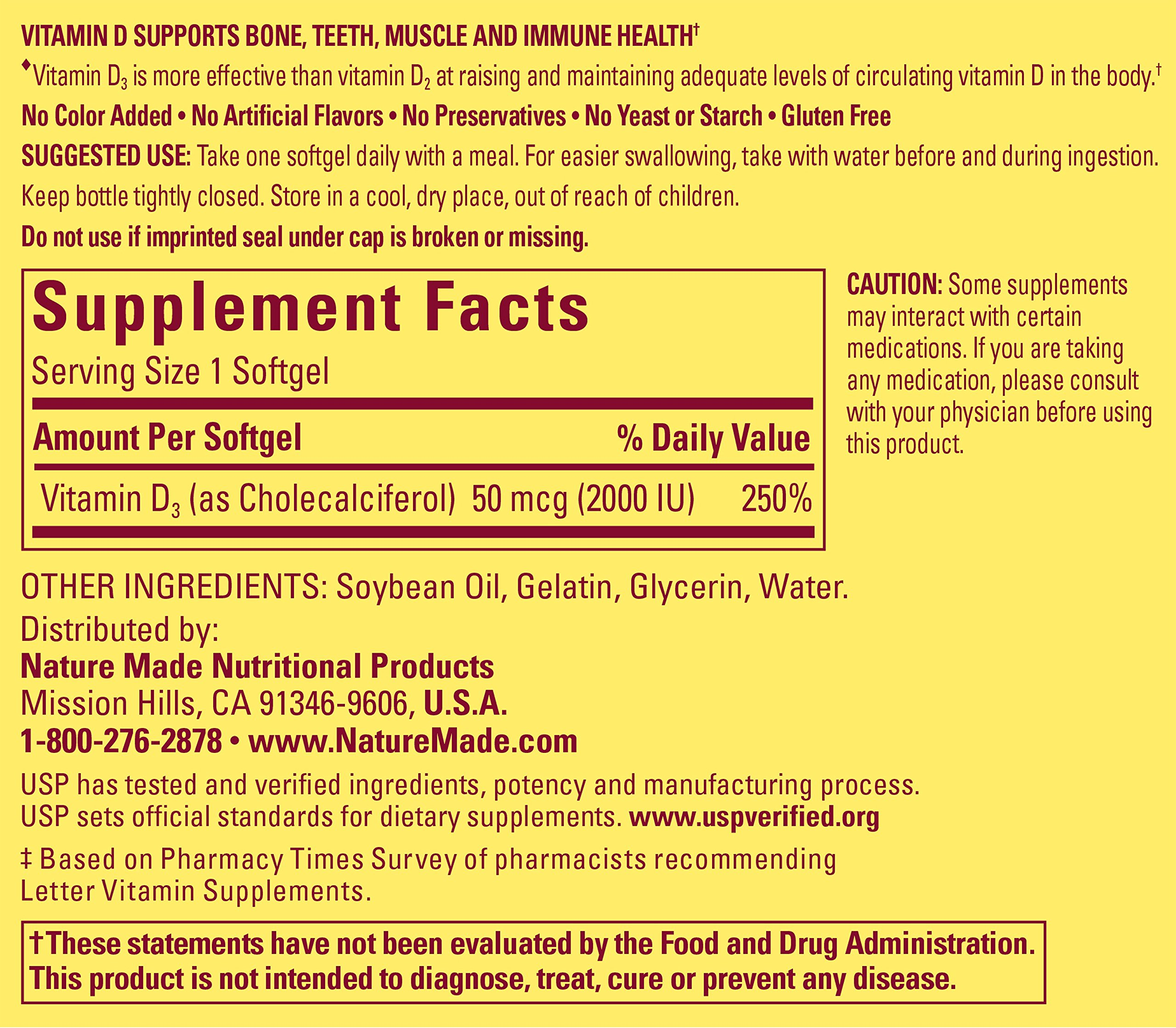Nature Made Vitamin D3 2000 IU Softgels, 250 Ct by Nature Made (Image #2)