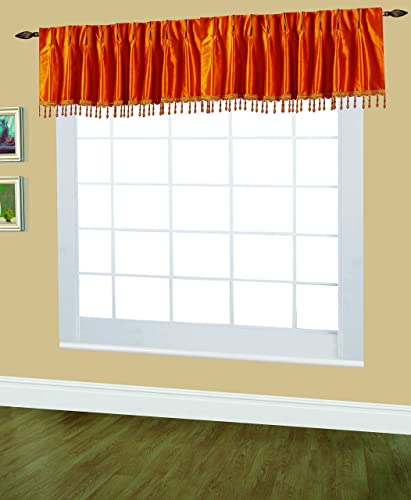 Editex Home Textiles Elaine Lined Pinch Pleated Valance, 48 by 18-Inch, Orange