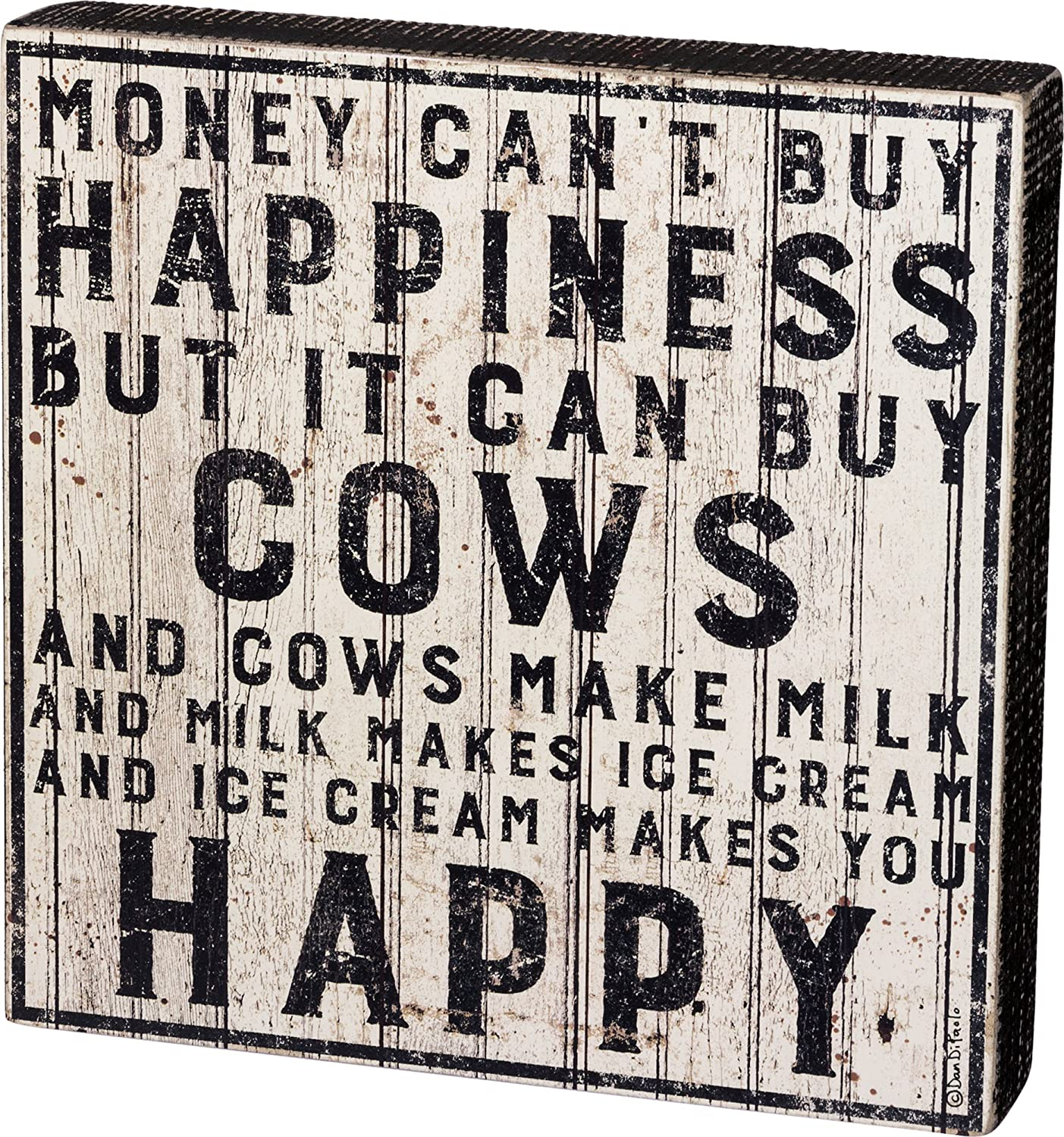 """Primitives by Kathy Farmhouse Style Box Sign 10"""" Square Buy Cows"""