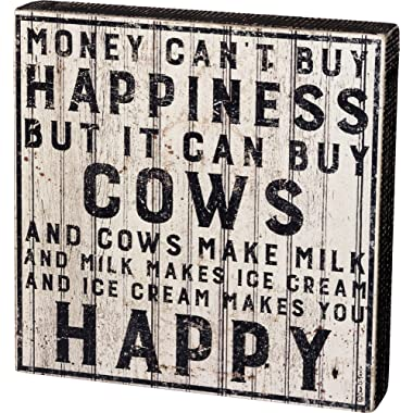 Primitives by Kathy Farmhouse Style Box Sign, 10  Square, Buy Cows