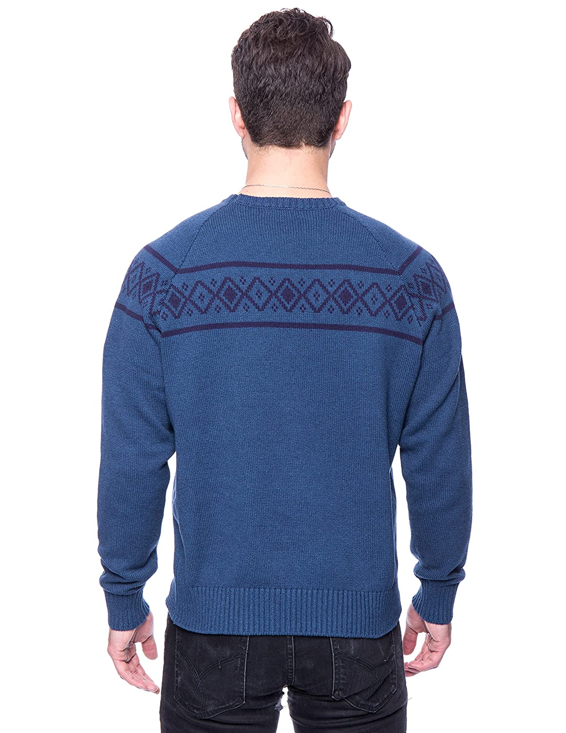 Noble Mount Tocco Reale Gift Packaged Mens 100/% Cotton Crew Neck Sweater with Fair Isle Stripe