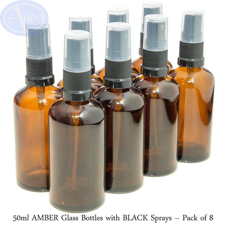 LOT de 8 - Flacons en VERRE AMBRE de 50 ml avec spray ATOMISEUR noir. Utilisation pour les huiles essentielles / et en aromathérapie Aura Essential Oils