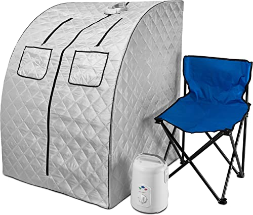 Durasage Oversized Portable Steam Sauna Spa for Weight Loss, Detox, Relaxation at Home, 60 Minute Timer, 800 Watt Steam Generator, Chair Included, 1.5 Year Warranty Silver