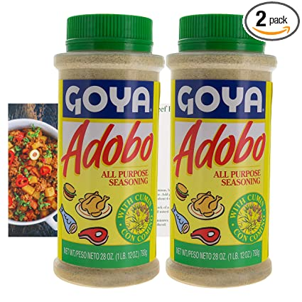 Amazon Com Goya Adobo All Purpose Seasoning With Cumin Bundle 2 Pack Great Seasoning For Beef Chicken Fish And More 28 Oz Bottles Comes With A Premium Penguin Recipe