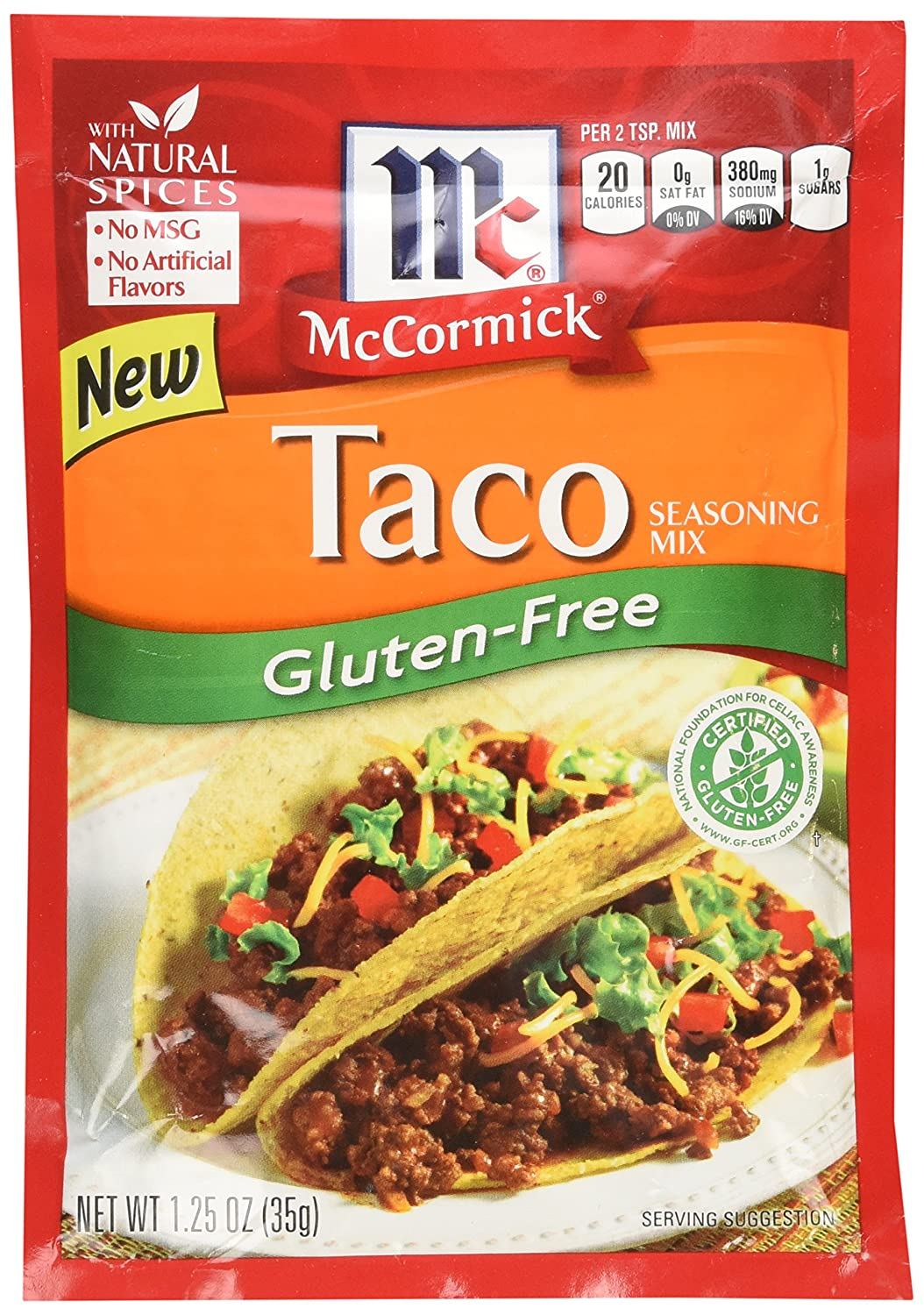 Amazon Com Mccormick Gluten Free Taco Seasoning Mix Pack Of 4 1 25 Oz Packets Grocery Gourmet Food