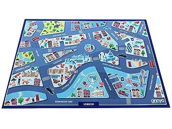 712b372fdaf86f annyo London - Spielmatte Spielteppich Kinderteppich Strassenteppich  Stadtteppich Strassen Teppich Stadt Teppich Spiele Teppich kidsrug Kids
