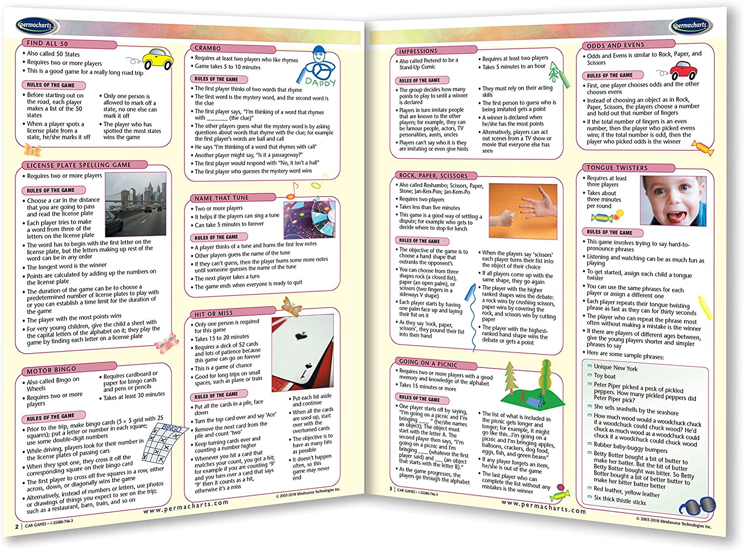 Kid Activities Quick Reference Guide by Permacharts Car Games