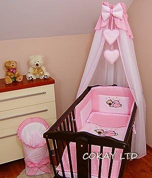 12 pcs CRIB bedding set //Bumper//sheet//duvet//CANOPY//Free Standing Holder//HEARTS