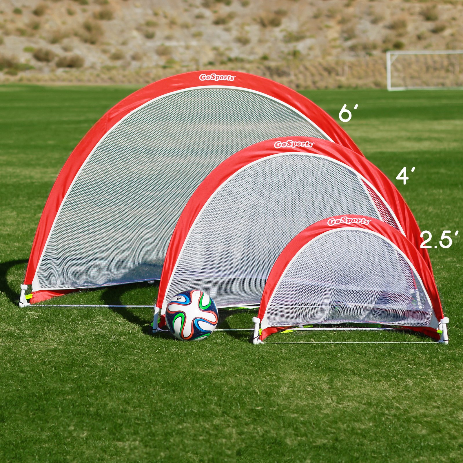 GoSports Portable Pop-Up Soccer Goal (Set of 2), Red/White, 4' by GoSports (Image #2)