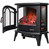 "Golden Vantage 20"" Freestanding Black Mantel Finish Log Fuel Bed 3-Side Glass Electric Fireplace Stove Heater"