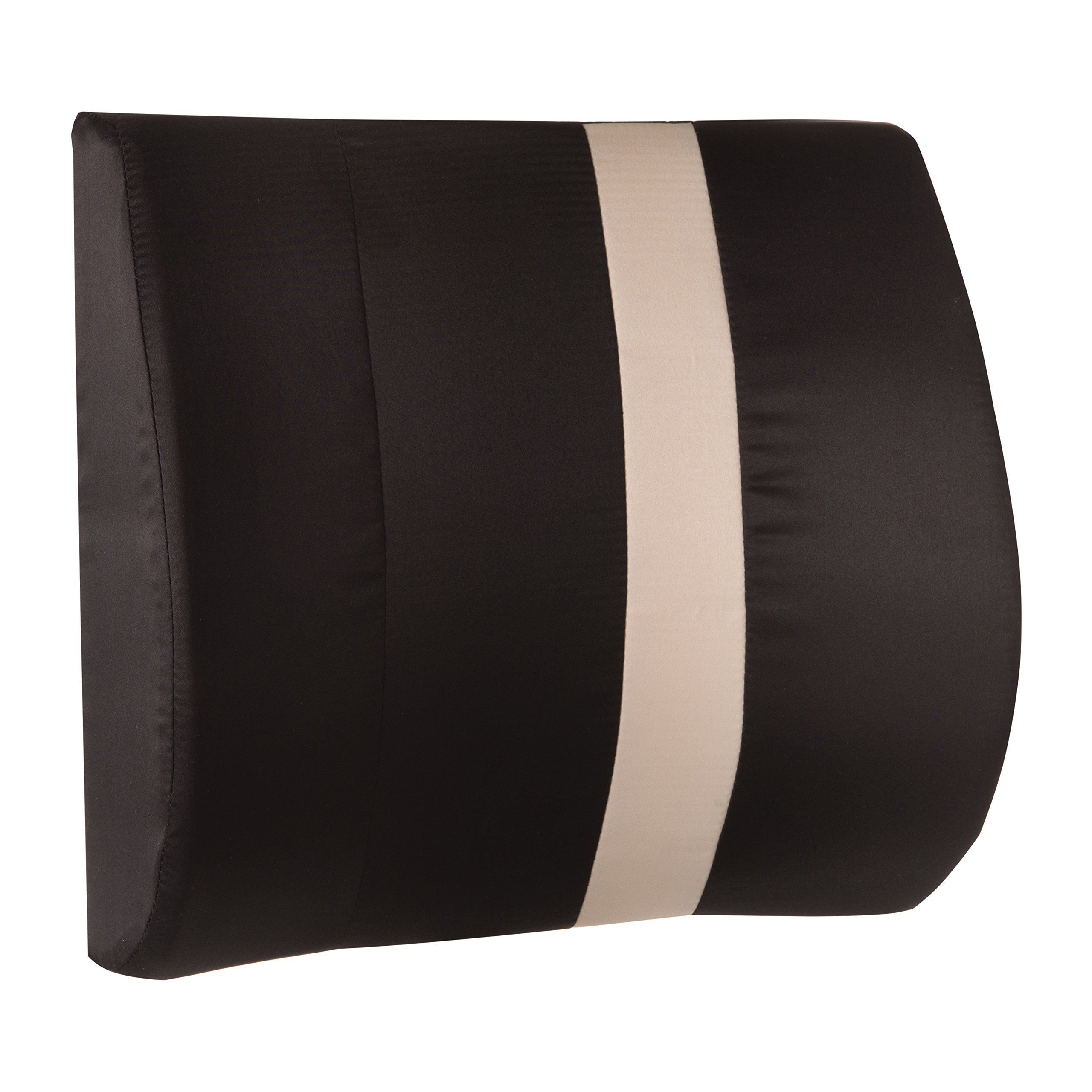 HealthSmart Vivi Relax-A-Bac Premium Lumbar Back Support Cushion Pillow with Insert and Strap, Great for Car, Black with Tan Stripe, 14 x 13 Inches