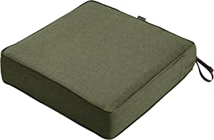 Classic Accessories Montlake Water-Resistant 25 x 25 x 5 Inch Patio Seat Cushion, Heather Fern Green