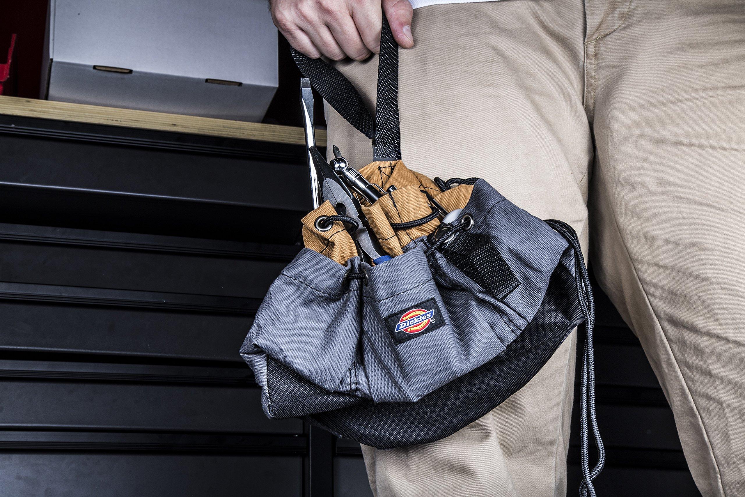Dickies Work Gear – 12-Pocket Parachute Style Bag – 57004 – Grey/Tan Parachute Work Bag – Tool Bag – Construction – Snap-Secured Tape Strap – 8.8 oz. by Dickies Work Gear (Image #6)