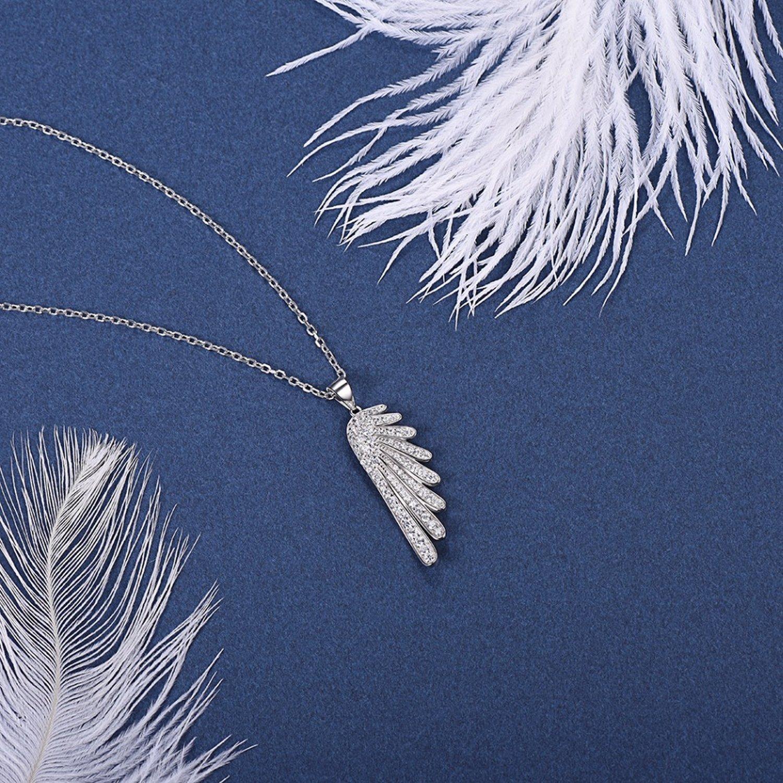 CS-DB Pendants Angel Wings Cubic Zirconia Silver Necklaces