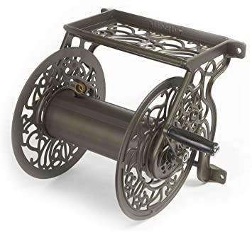 Liberty Garden Products 704 Decorative Cast Aluminum Wall Mount Garden Hose  Reel, Holds 125