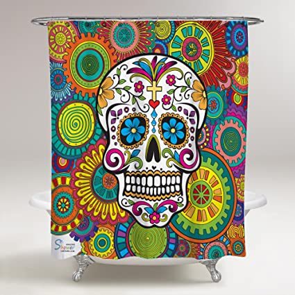 Amazon.com: Amazing Shower Curtains 2018 Sugar Skull Shower Curtain ...