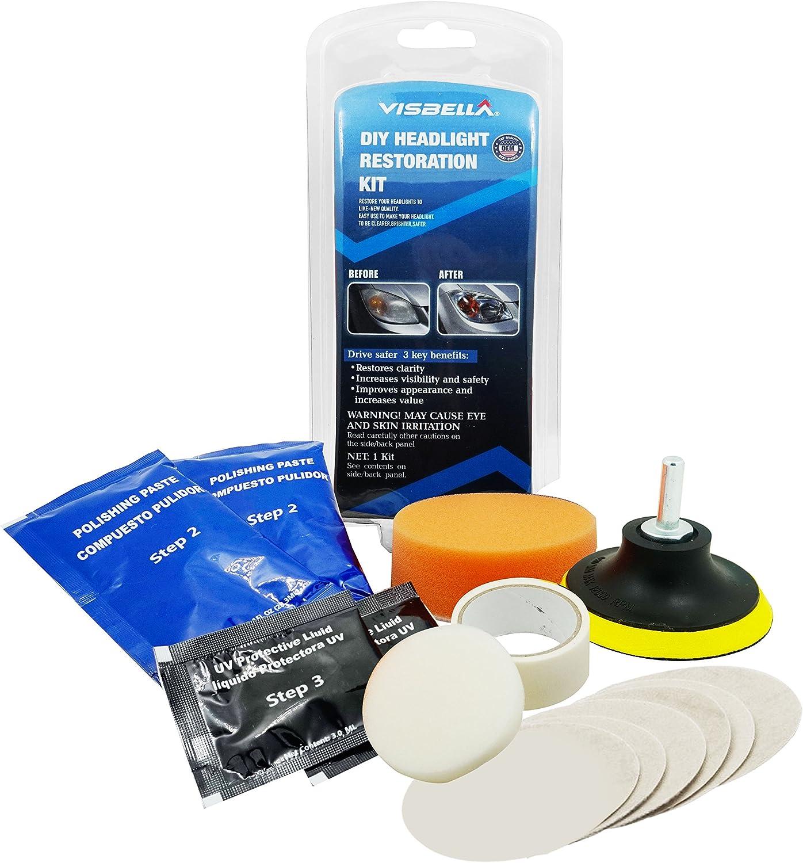 Visbella DIY Kit de restauración de faros delanteros, herramientas de limpieza de faros, ideal para mejorar el aspecto del vehículo