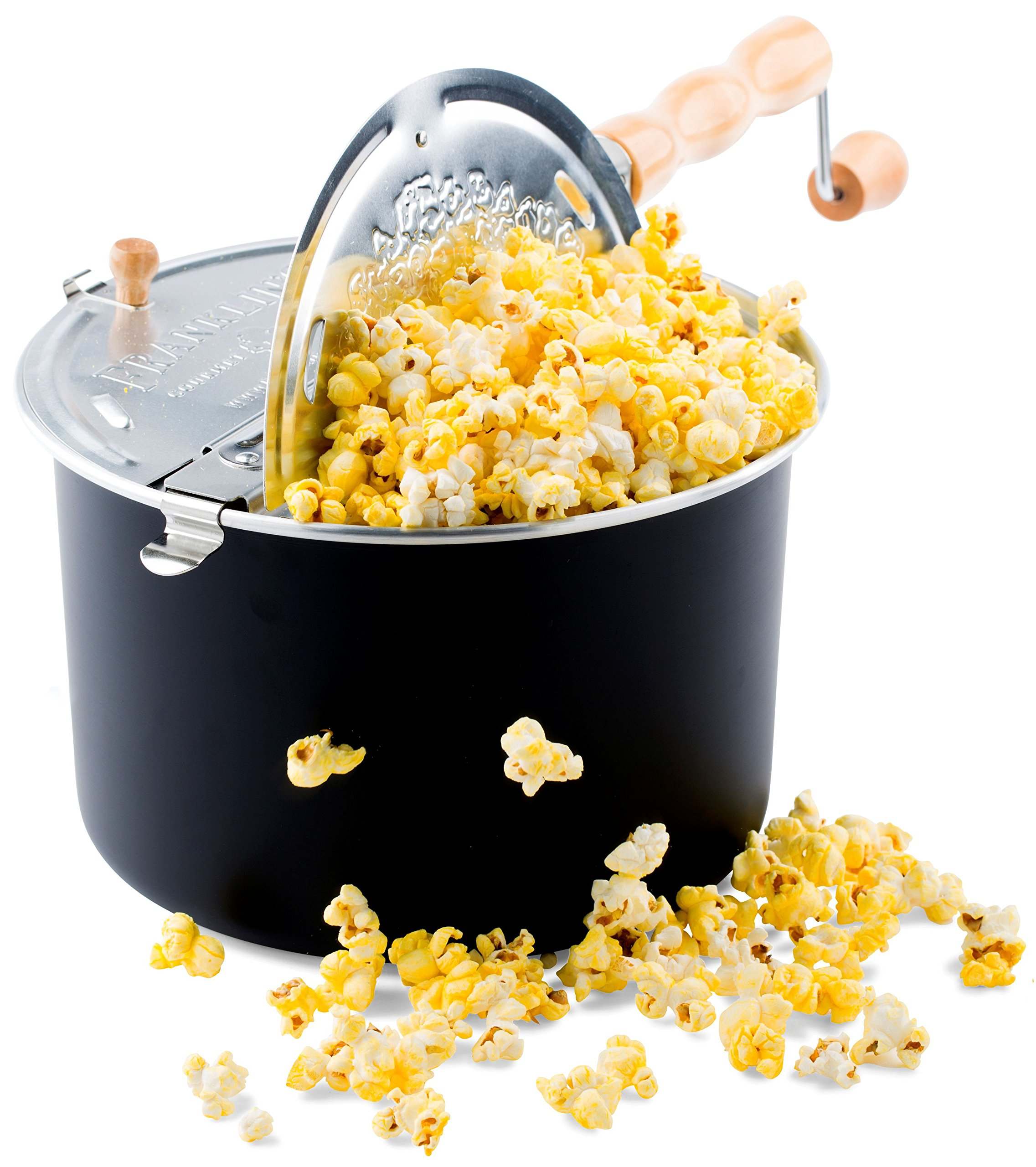 Franklin's Original Whirley Pop Stovetop Popcorn Machine Popper. Delicious & Healthy Movie Theater Popcorn Maker. FREE Organic Popcorn Kit. Makes Popcorn Just Like the Movies. by Franklin's Gourmet Popcorn