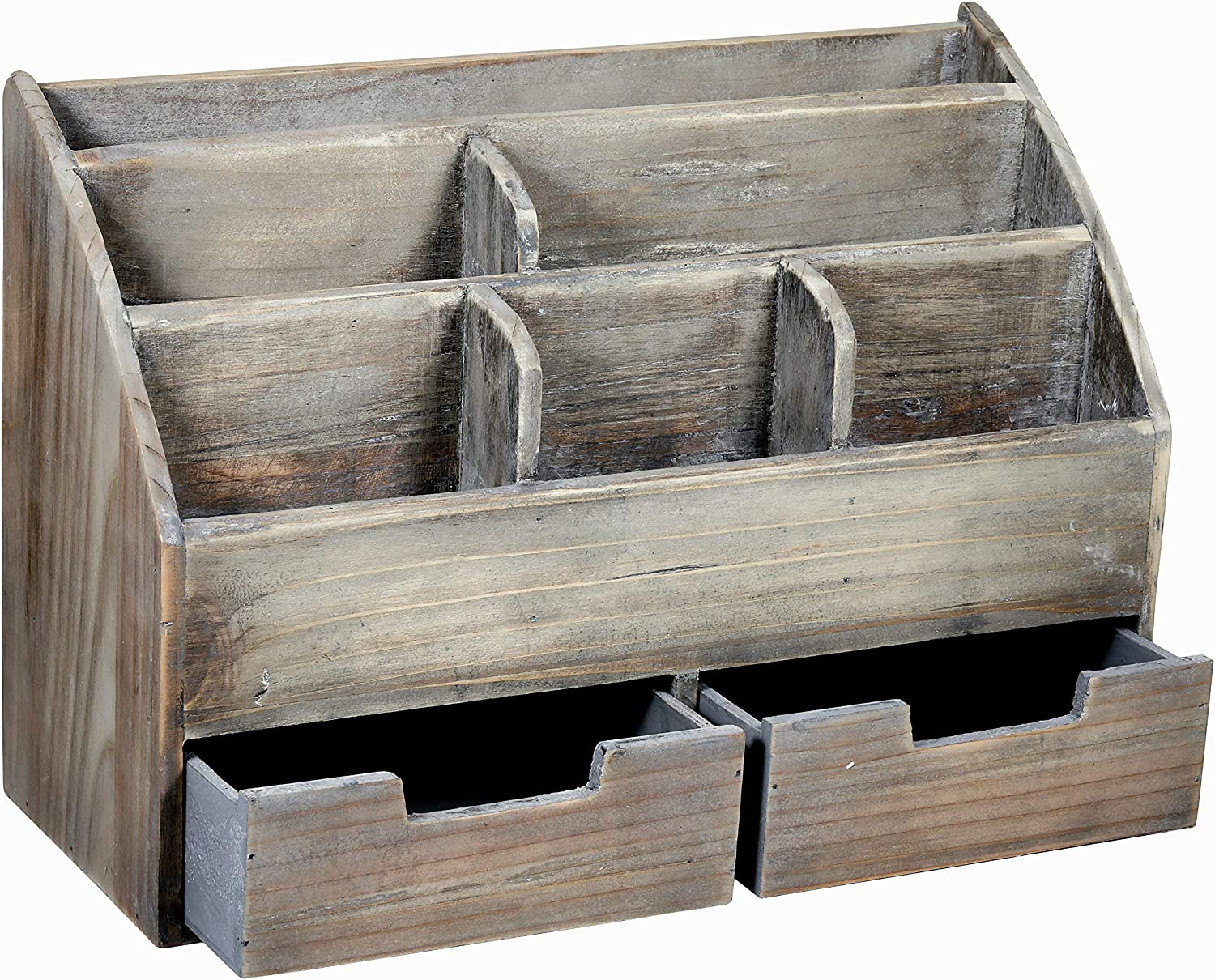 URFORESTIC Rustic Wooden Office Desk Organizer & Mail Rack for Desktop, Tabletop, or Counter - Distressed Torched Wood – for Office Supplies, Desk Accessories, Mail