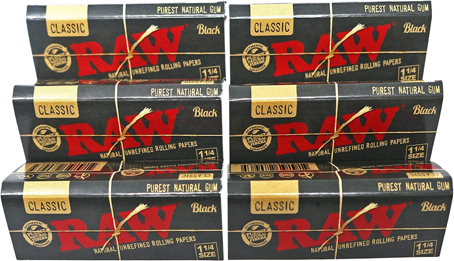Amazon Com Raw Classic Black 1 1 4 Size Natural Unrefined Ultra Thin 79mm Rolling Papers 6 Packs Health Personal Care