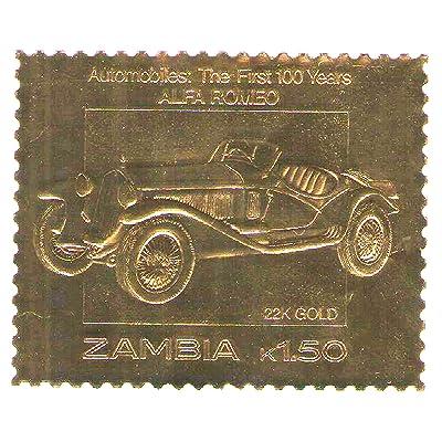 22K Carat Feuille d'or automobiles 100 timbres de voitures classiques ALFA ROMEO / 1987 / Zambie / MNH