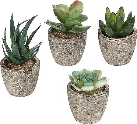 Un conjunto de 4macetas que contiene, pero llamativa realista, plantas artificiales carnosas.,Carac