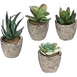 MyGift Surtido de Plantas Decorativas Artificiales suculentas con macetas Grises, Juego de 4