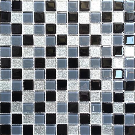 Glas Mosaik Fliesen Matte Schwarz Grau Und Silber Mit Glitzer