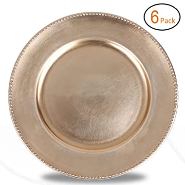 FANTASTIC :)  Round 13 Inch Plastic Charger Plates with Metallic Finish (6, Beaded Gold)