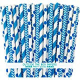 Outside the Box Papers Blue Stripe, Chevron and Polka Dot Paper Straws 7.75 Inches 75 Pack Blue, White