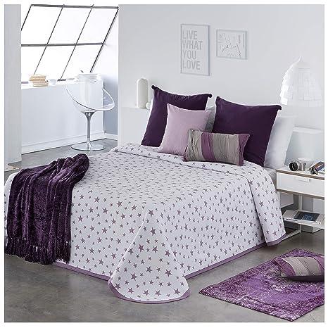 COTTON ART- Colcha PIQUE Mod. IZAR LILA cama de 150 (250 x 260 cm) - REVERSIBLE- 25% ALGODÓN-75% POLIÉSTER