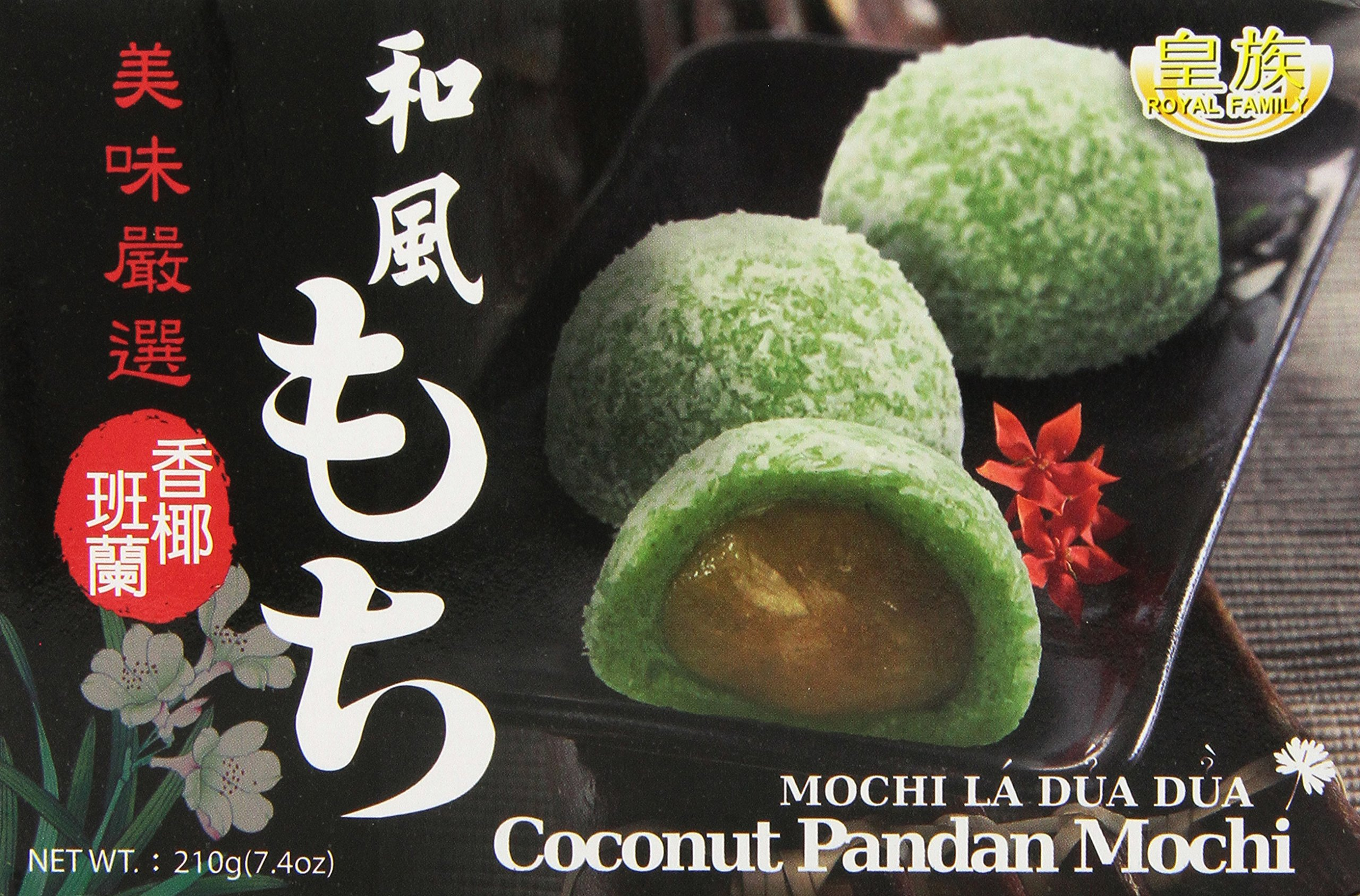 Royal Family Japanese Mochi, Coconut and Pandan, 7.4-Ounce (Pack of 24)