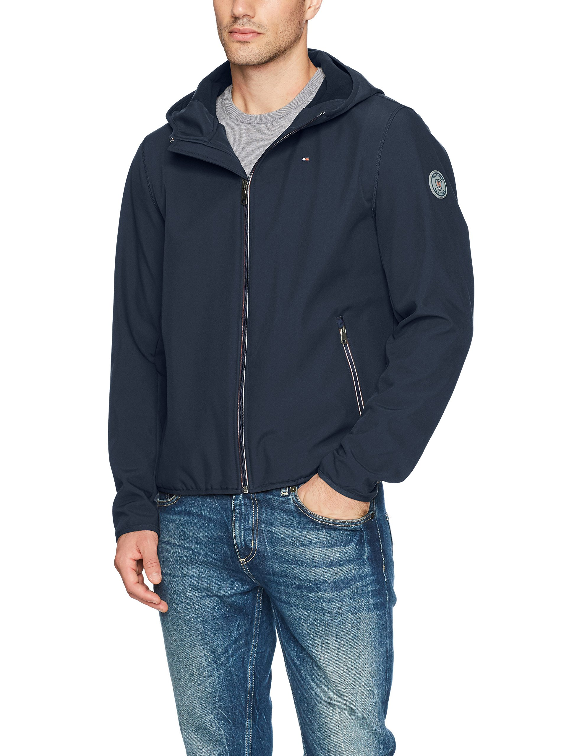 Tommy Hilfiger Men's Hooded Performance Soft Shell Jacket, Midnight, Medium by Tommy Hilfiger
