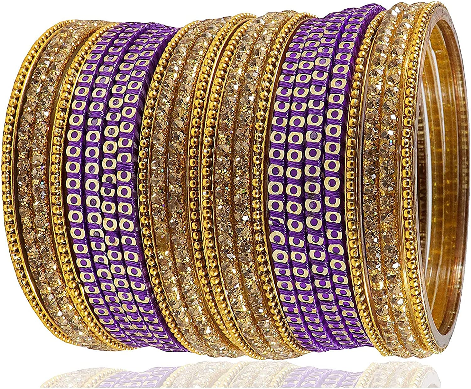 SHINE MILL Thread /& Glass Bangles Set Studded with Zircon for Girls /& Women on