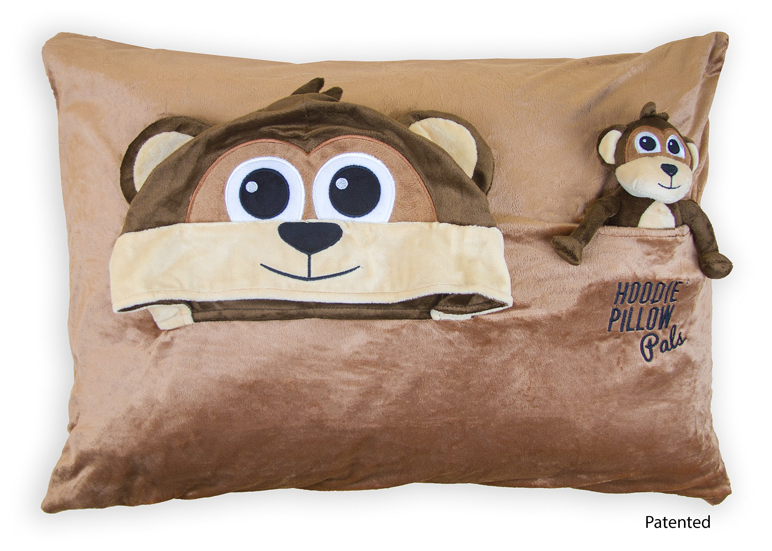 HoodiePillow Pal Pillowcase - Brown Monkey