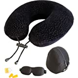 (Black) - AERIS Travel Pillow for Restful Sleep on an Aeroplane,Memory Foam Neck Pillow for Aeroplane Travel,Cool Plane Accessories for Long Haul Flights,Easy to Carry Bag to Save Space,Ear Plugs and Eye Mask