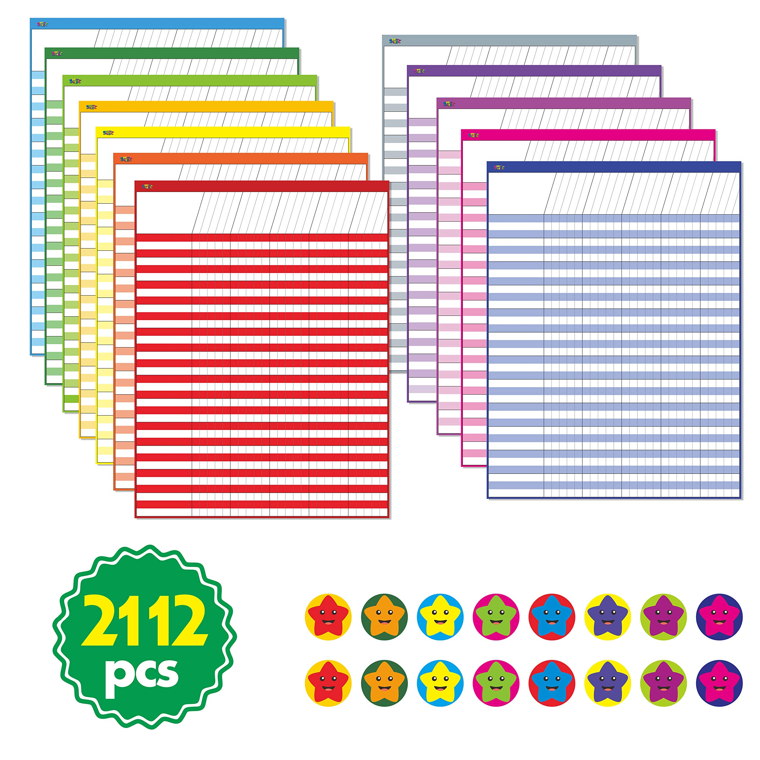 12 Pack Multi-Color Laminated Dry Rease Incentive Chart/Chore/Responsibility/School Attendance/Homework Progress Tracking Chart with 2112 Reward Star Stickers, (17'' x 22'') by SpriteGru