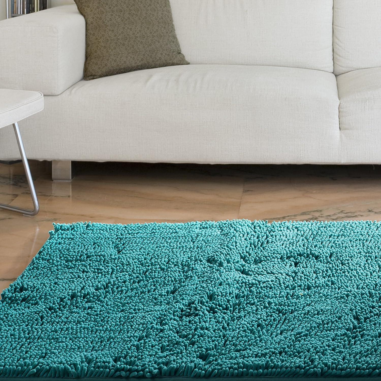 Lavish Home High Pile Shag Rug Carpet, 21 x 36, White 21 x 36 67-12-W