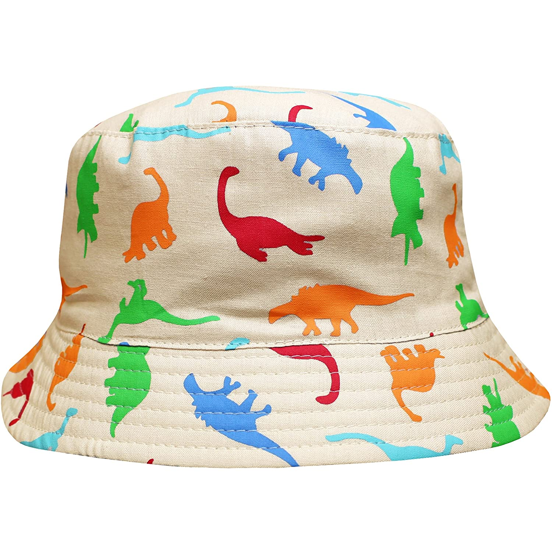 Toddlers Jurassic Dinosaurs Crushable Wide Brim Summer Sun Beach Bucket Hat Aqua