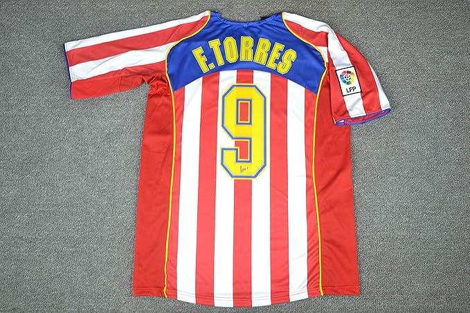 Brook Fernando Torres#9 Atletico Madrid Home Retro Soccer Jersey 2004-2005 (White&Red, M): Amazon.es: Deportes y aire libre