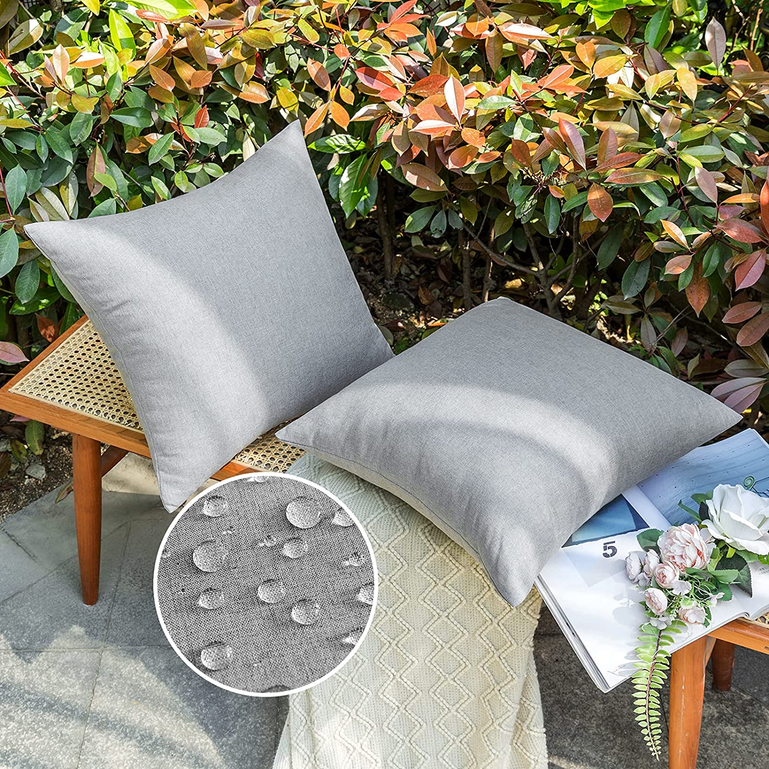 EMEMA Outdoor Waterproof Throw Pillow Covers Polyester Water Resistant Garden Decorative Cushion Cases Farmhouse for Patio Sofa Couch Bed Balcony Chairs 20x20 Inch 50x50 cm Light Gray, Pack of 2