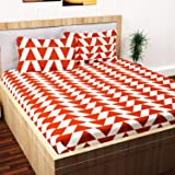 Story@Home Candy Triangle Cotton Double Bedsheet with 2 Pillow Covers - Brown