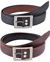 Shvas Men's Black & Brown Pu Leather Belt(Pack Of 2)