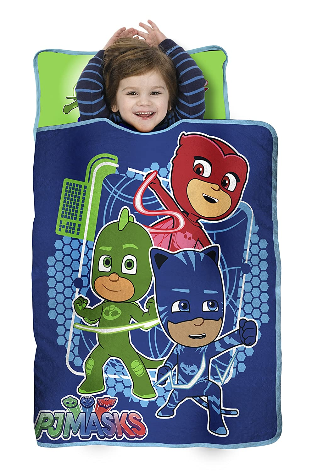 PJ Masks All Shout Horray Toddler Nap Mat - Includes Pillow and Fleece Blanket – Great for Boys and Girls Napping at Daycare, Preschool, Or Kindergarten - Fits Sleeping Toddlers and Young Children PJ111